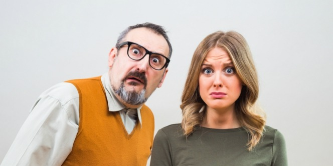 A man and woman expression after knowing the truth about saliva