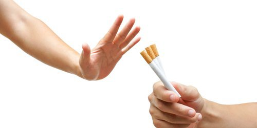 hands that are refusing cigarettes